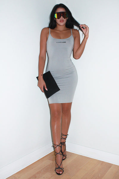 Cristi Logo grey dress - Alvy Luxe