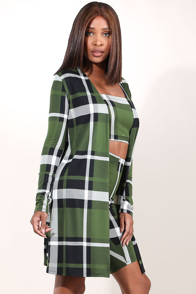 Yes Indeed Olive Plaid Set