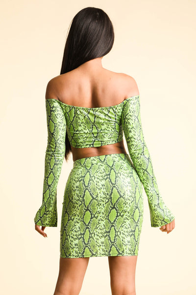 Going Crazy Snake print Neon Yellow Set