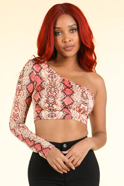 Snake print Coral top - Alvy Luxe