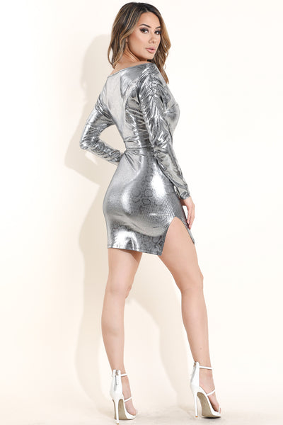 Metallic snake printed dress