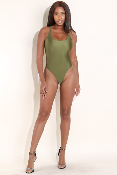 All in Fun Nylon Olive Bodysuit