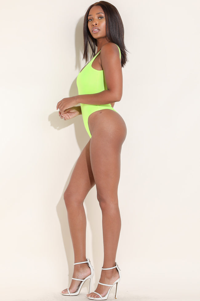 All in Fun Nylon Neon Yellow Bodysuit