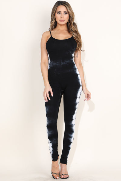 Cool Tie Dye Black Catsuit