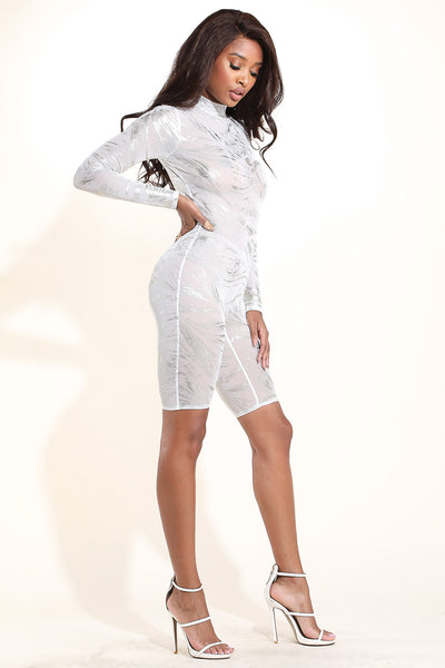 Splash White Mesh Romper