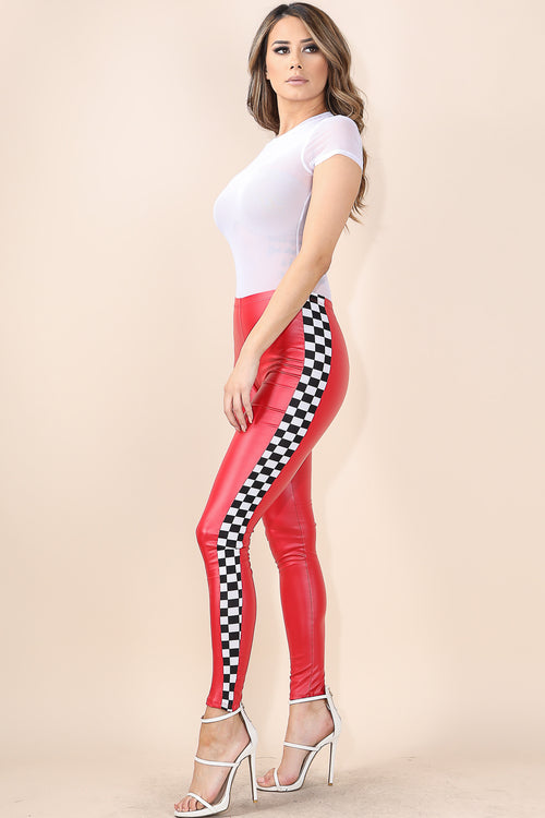 Side Checkered Red Leggings
