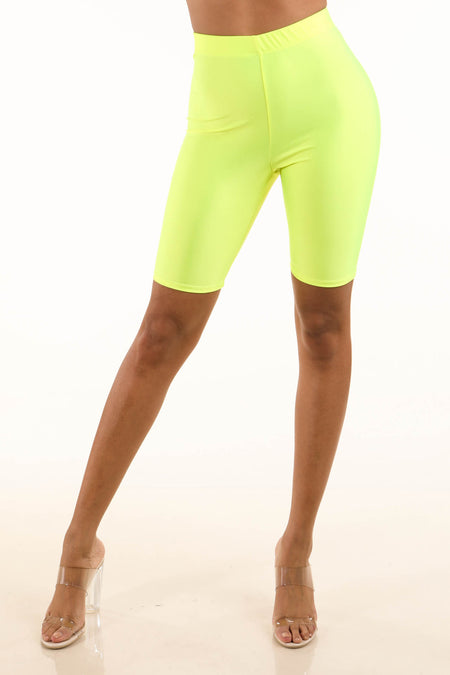 Alexis Neon Yellow Satin Biker Bodysuit