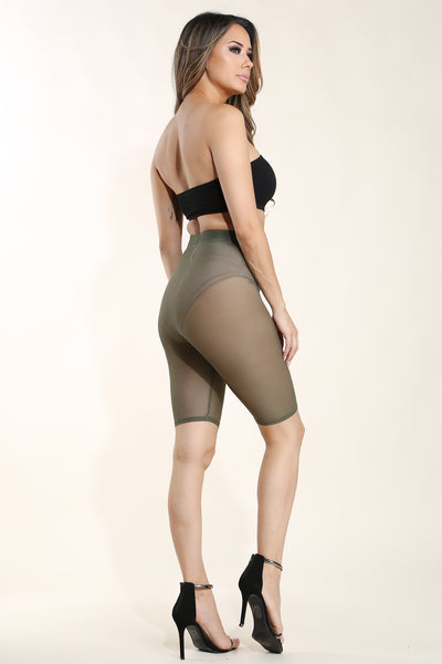 Fefe Olive Mesh biker shorts - Alvy Luxe