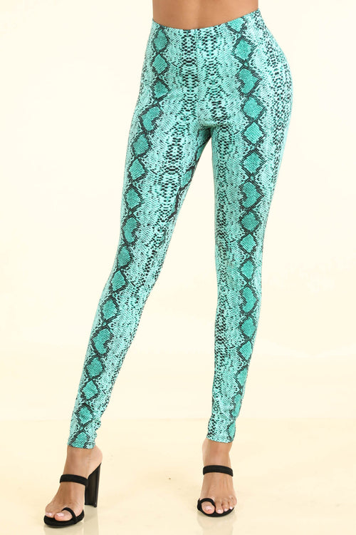 Snake Print Blue Leggings