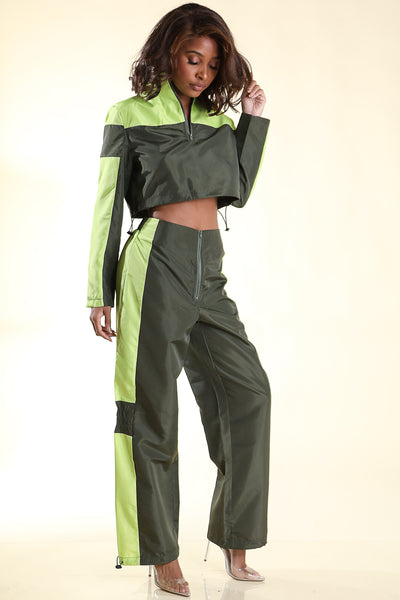 No Steez Olive Windbreaker set