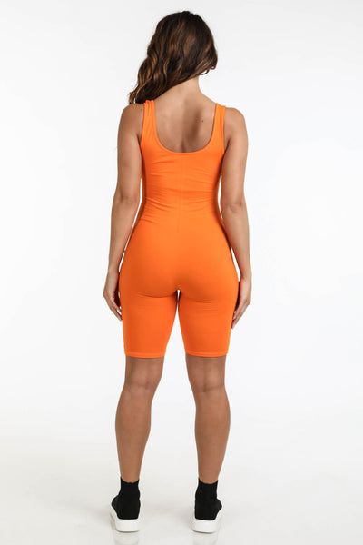 Logo Tank Romper Orange - Alvy Luxe