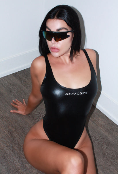 Logo Bodysuit Metallic Black
