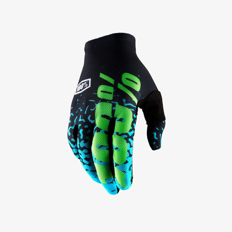 100% Men's Celium 2 Glove Flash Black & Cyan