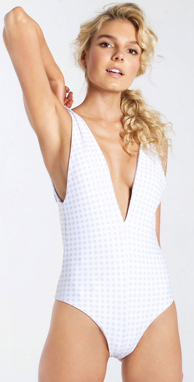 Westerly Plunge Full One Piece in White Gingham  front
