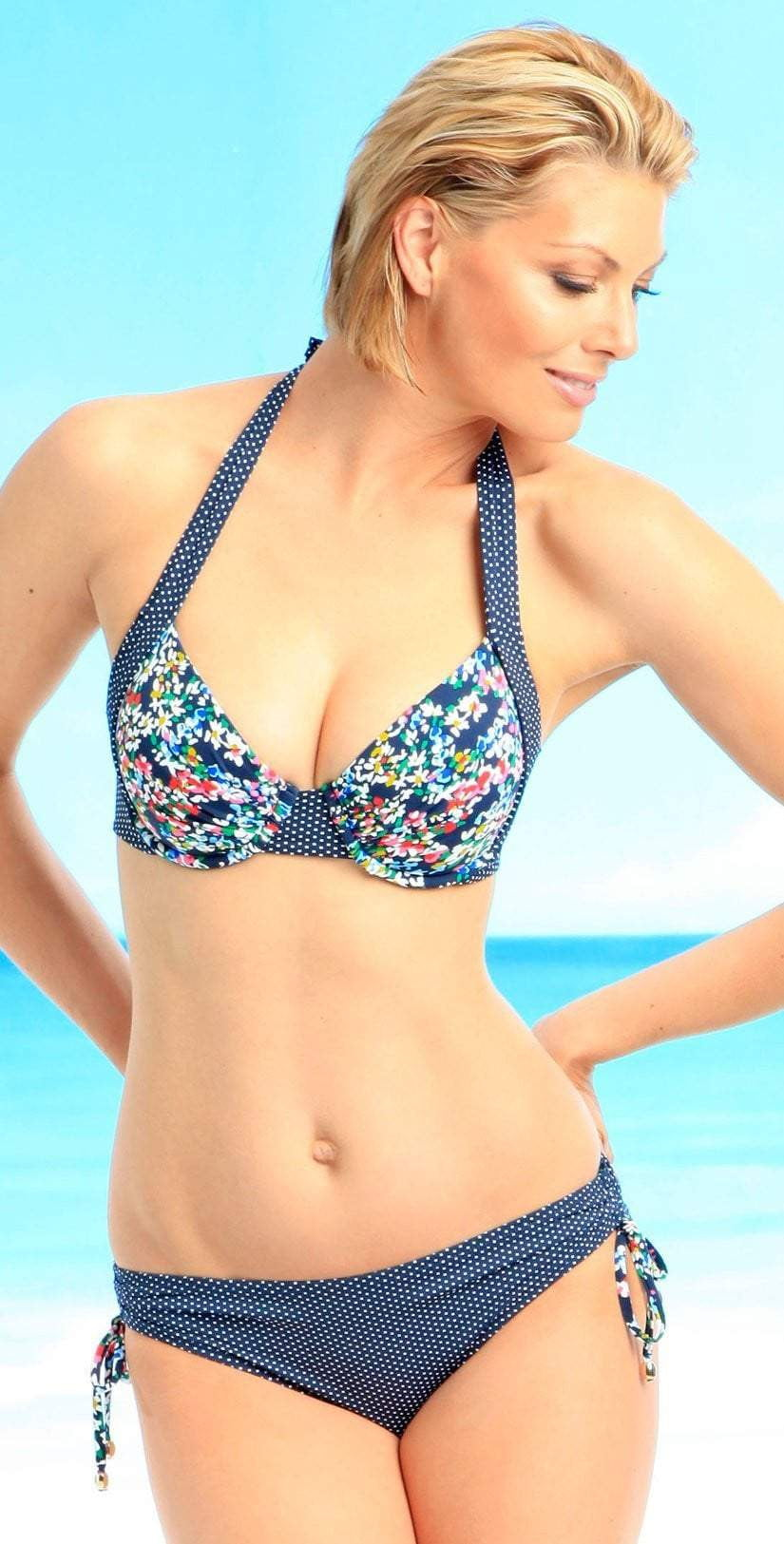 Anne Cole Ditsy Floral Tie Side Bottom in Navy 14MB343-NVY: