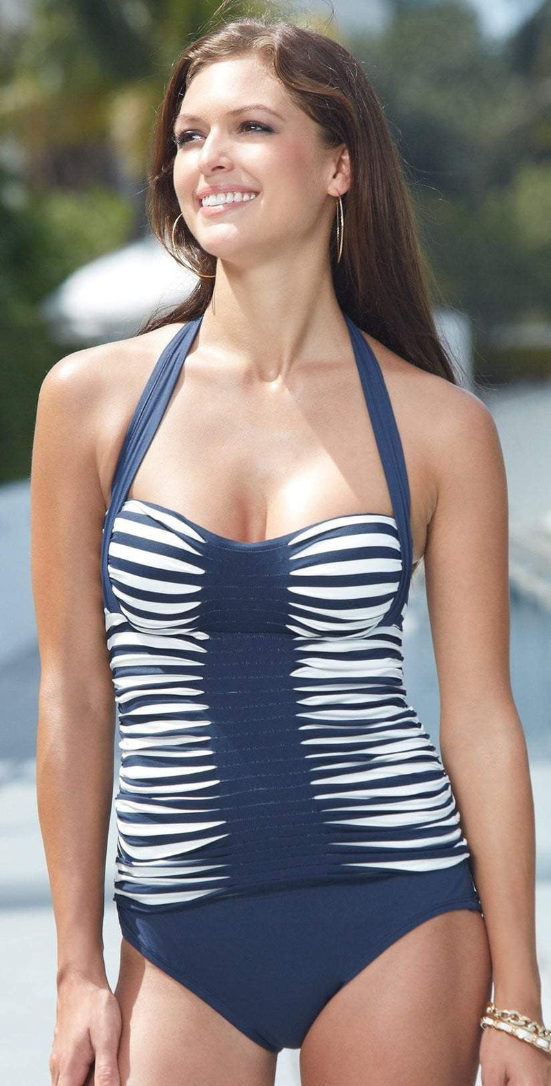 Anne Cole Stripe and Tuck Tankini Top in Navy 14MT213-Navy:
