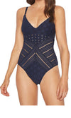 Robin Piccone Clarissa V Neck Crochet One Piece In Navy 180311-NVY