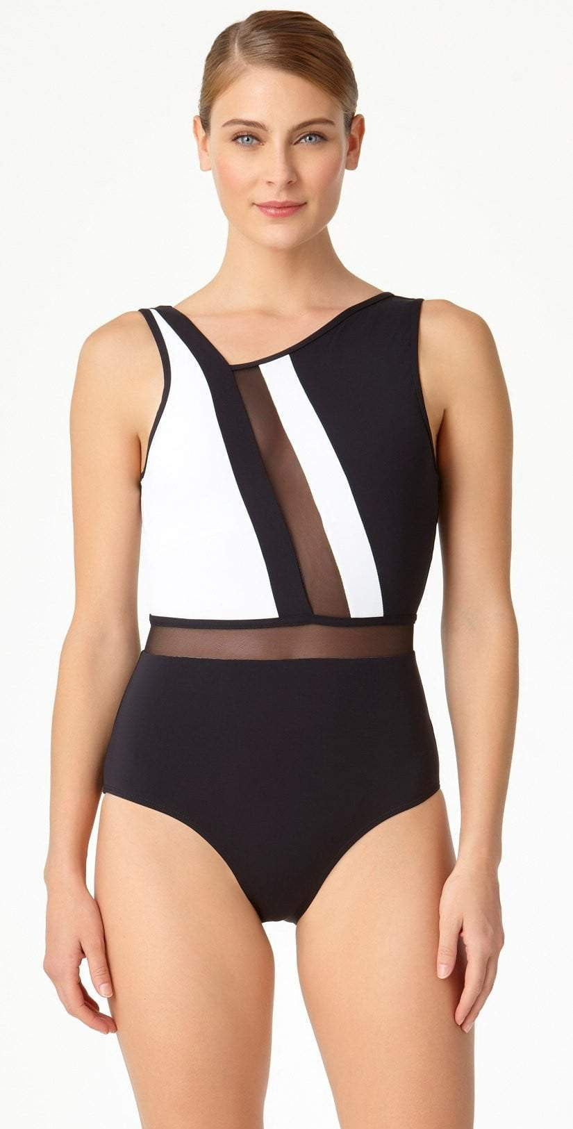 Anne Cole Hot Mesh Asymmetrical One Piece 18MO08004-Black/White front view