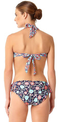 Anne Cole Lazy Daisy Side Flounce Bikini Bottom 18MB31160-NAVY back view of bottom and top