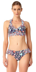 Anne Cole Lazy Daisy Marilyn Flounce Halter Top 18MT10460 NAVY front view of top and bottom