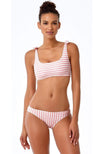 Anne Cole Studio Coral and White Striped Bikini Top