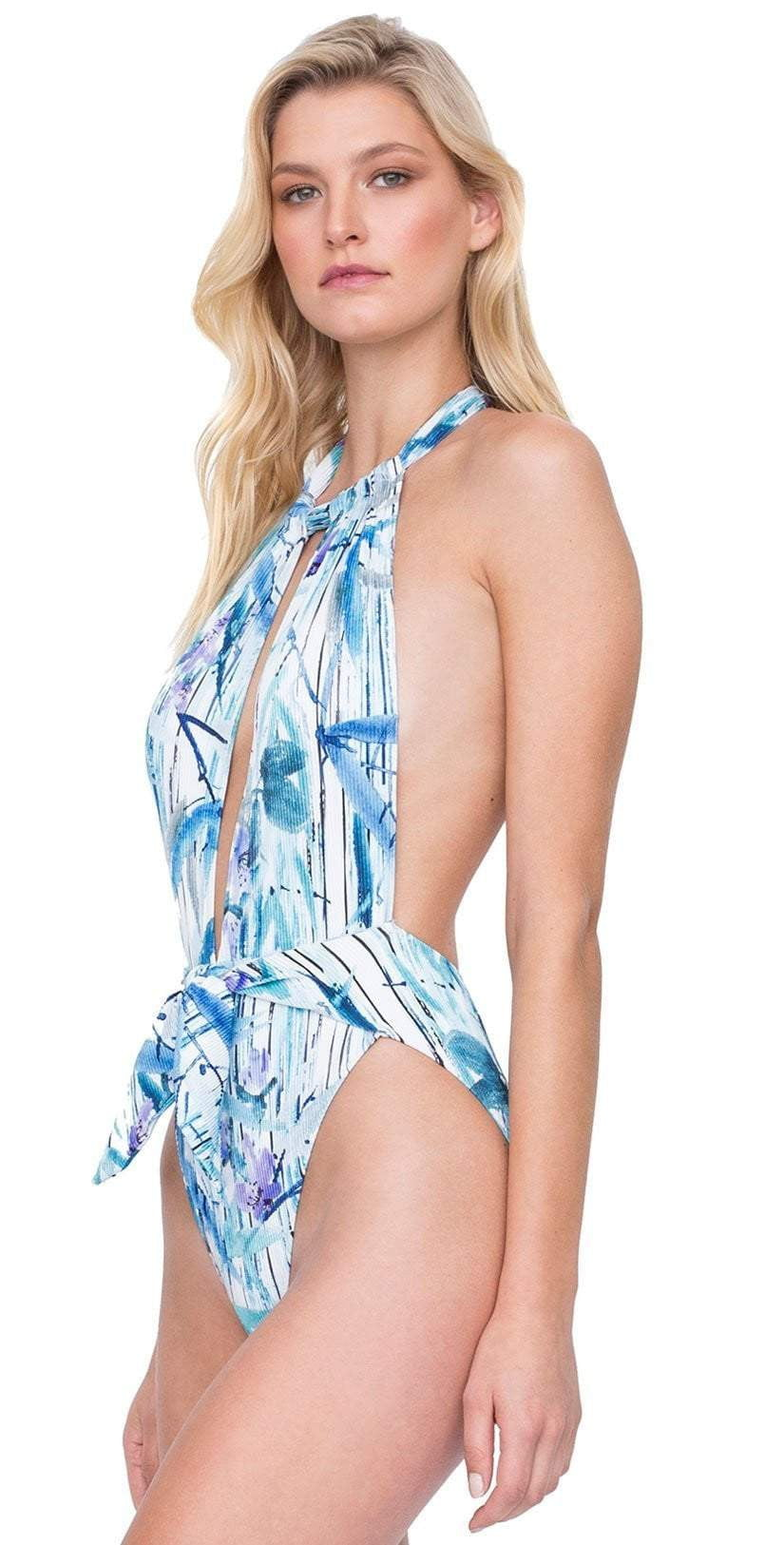 78f5b12414df8 Gottex Exotic Paradise Sexy Deep Plunge One Piece 19EP025 086 side view
