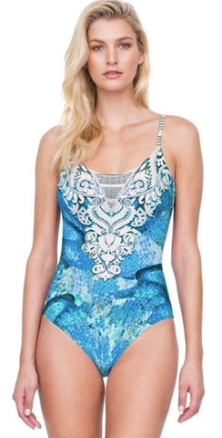 Gottex Felicity Blue Underwire Round Neck One-Piece Swimsuit in D-Cup 19FED34-086