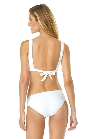 Anne Cole Crochet Spliced Bikini Bottom In White