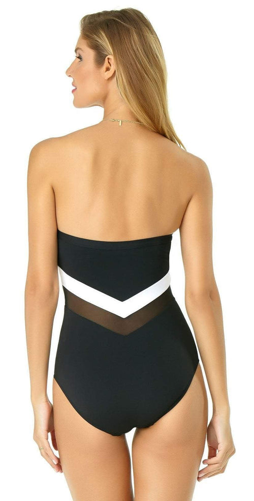 Anne Cole Color Block Mesh Chevron Spliced Bandeau Swimsuit 19MO01804 BKWH: