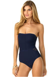 Anne Cole In First Lace Crochet Sliced Bandeau One Piece-Navy