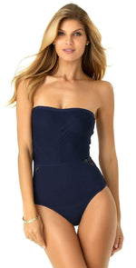 Anne Cole In First Lace Crochet Sliced Bandeau One Piece 19MO09205 Blue: