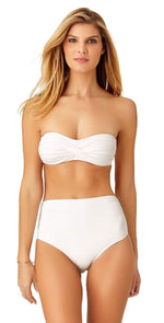 Anne Cole Live In Color Convertible Shirred Hi-Low Bikini Bottom 19MB36001 White: