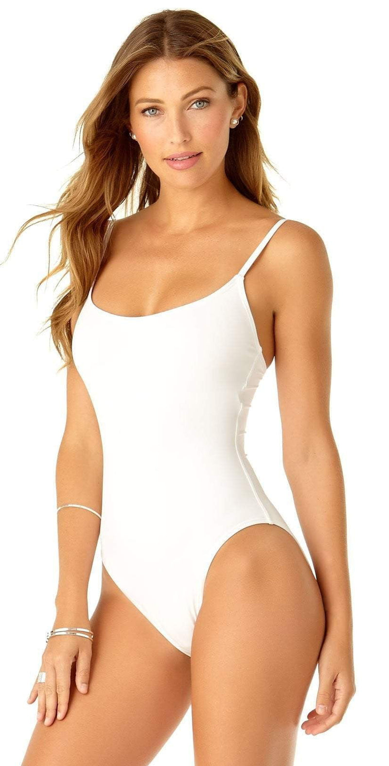 Anne Cole Studio Vintage Lingerie Maillot In White 19SO03801-WHT: