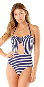 Anne Cole Studio Smocked Tab Bandeau One Piece Swimsuit 19SO04232 Multi: