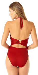 Anne Cole Studio High Neck Plunge Halter One Piece Swimsuit 19SO04802 RED: