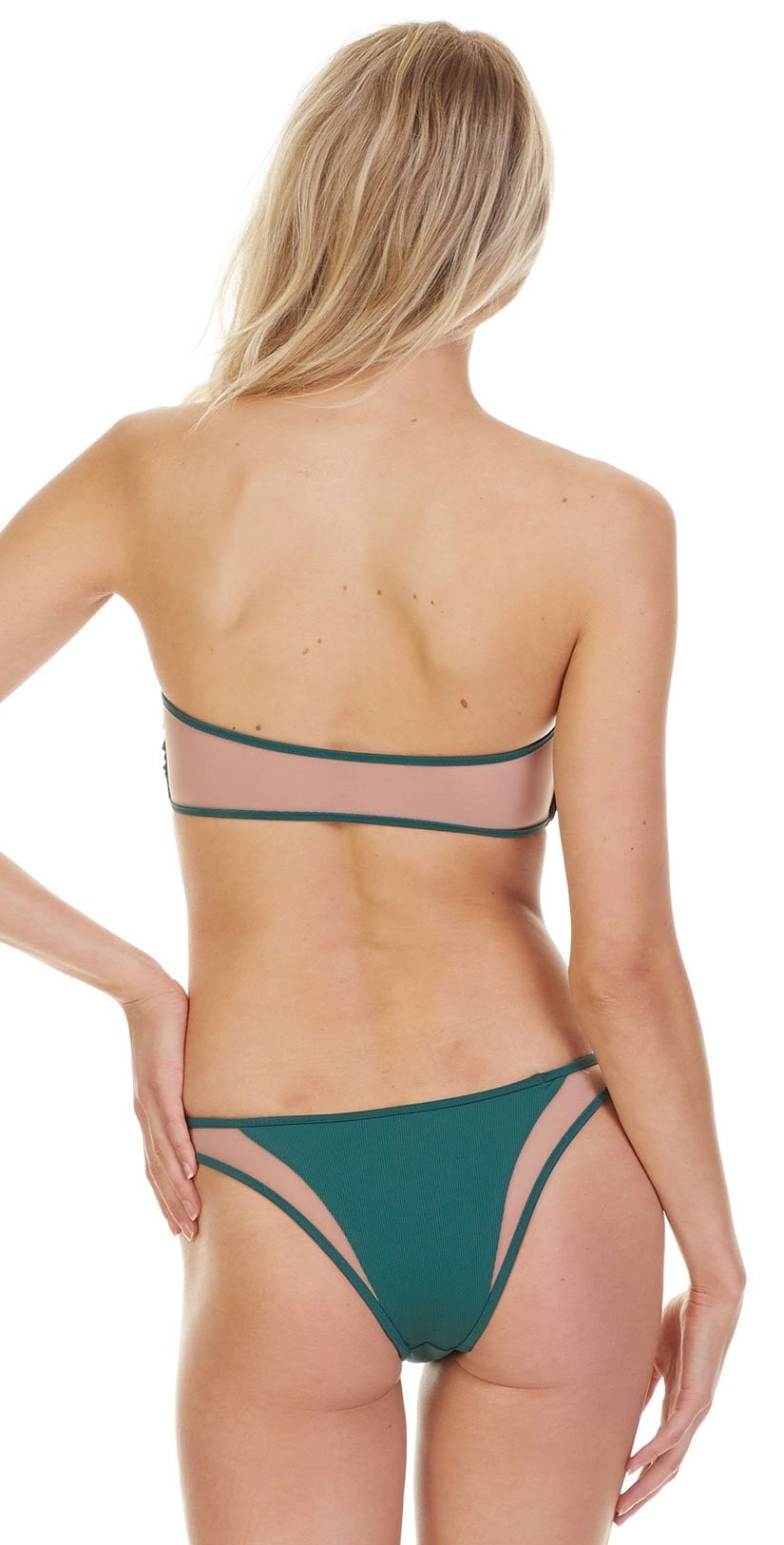 Tori Praver Fine Rib Royale Top In  Emerald 1S19STRONR-EMR back view of green bikini