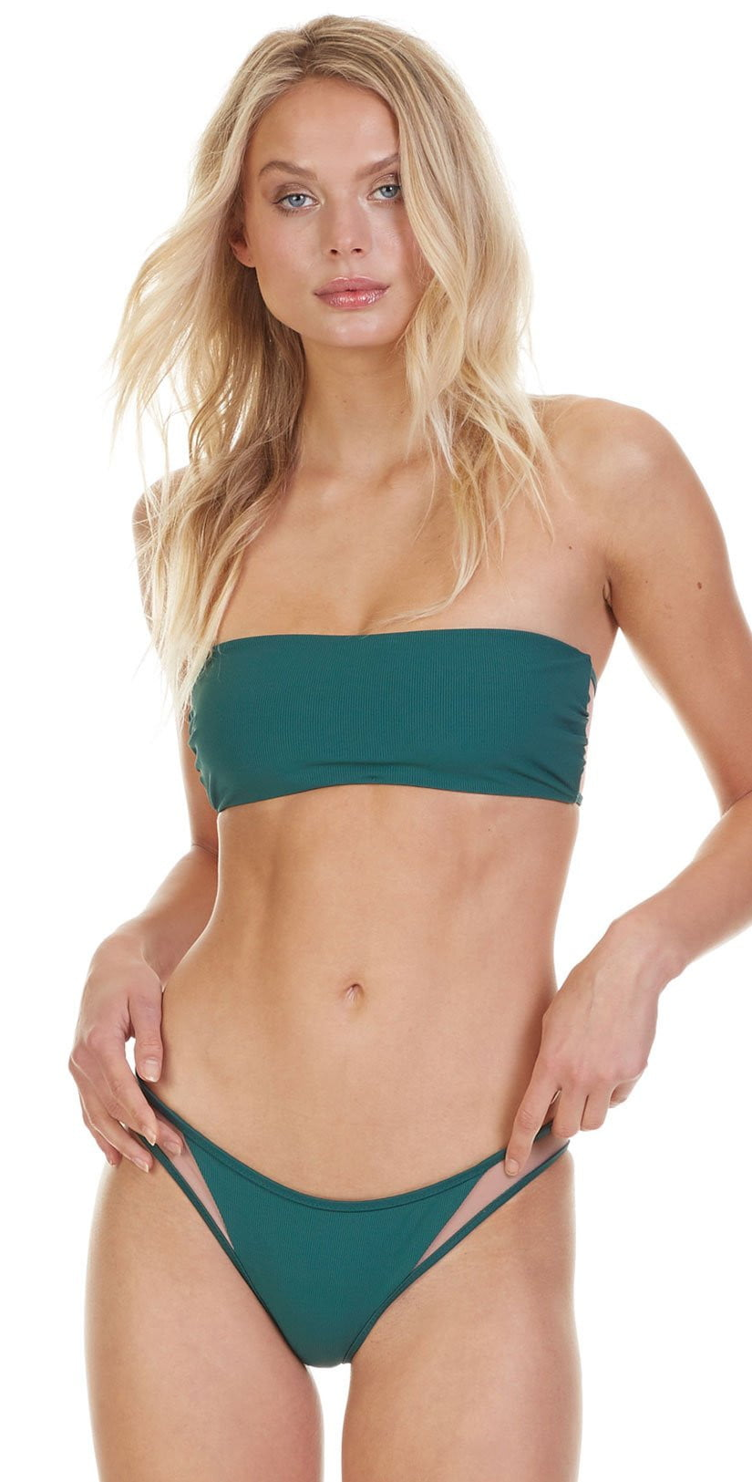 Tori Praver Fine Rib Royale Top In  Emerald 1S19STRONR-EMR front view of green bikini