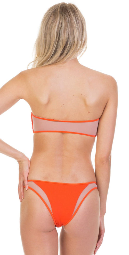 Tori Praver Fine Rib Royale Top In Hot Orange 1S19STRONR-HTO . coral bikini