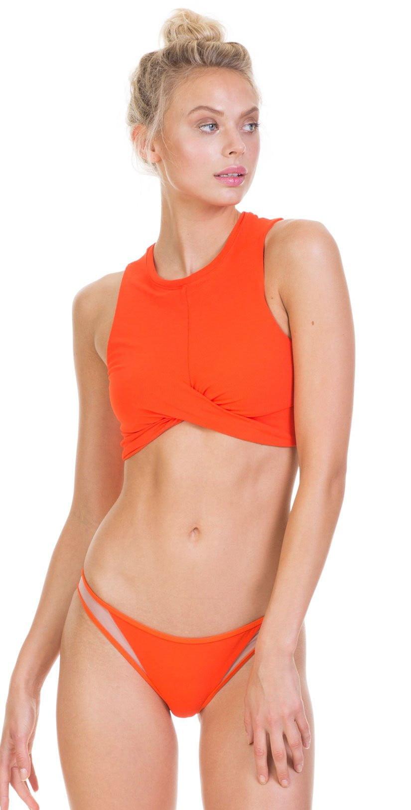 Tori Praver Fine Rib Manon Bottom In Hot Orange 1S19SBMNNR- HTO: