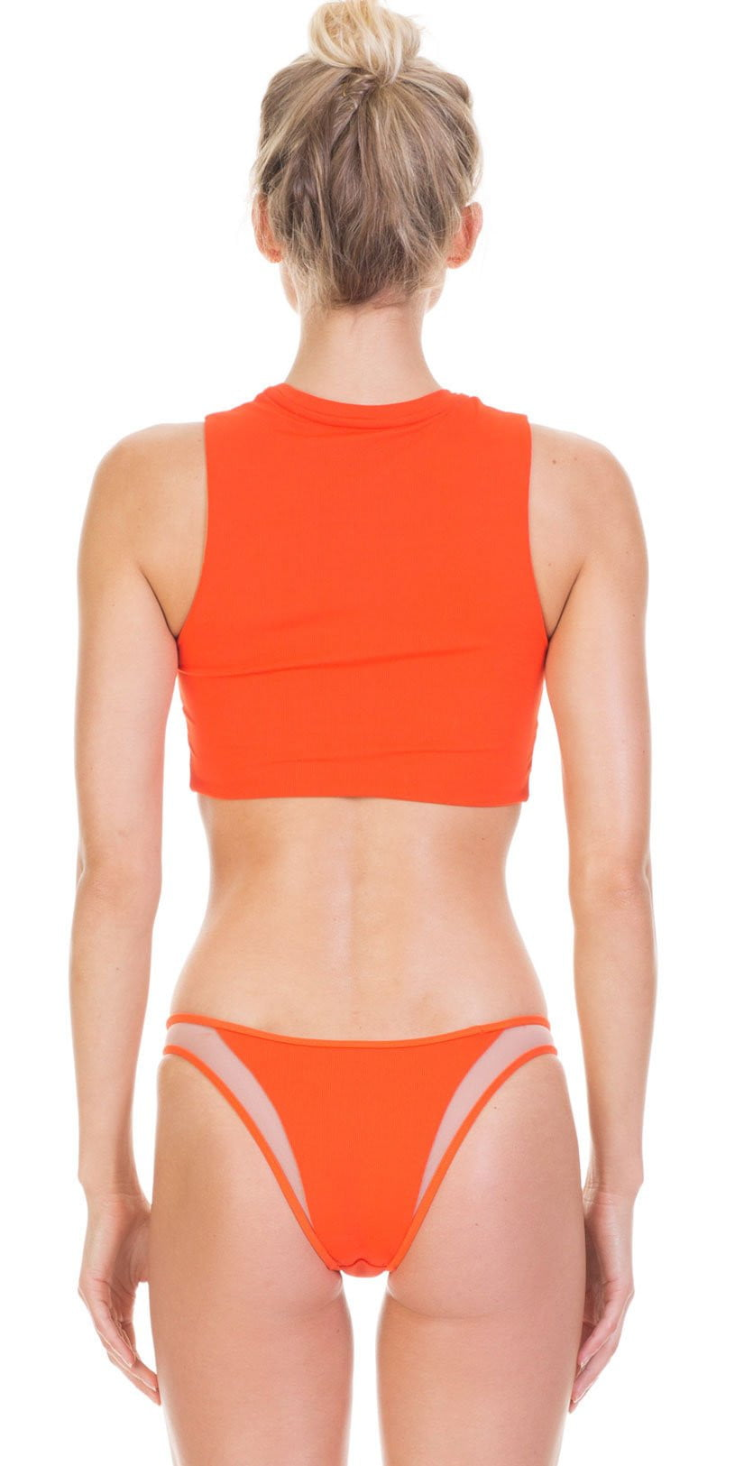 Tori Praver Fine Rib Emmy Swim Tank Top In Hot Orange 1S19SUEMNR-HTO: