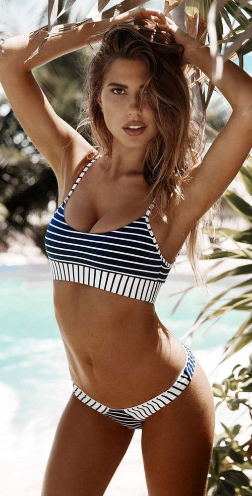 Beach Bunny Emerson Bralette in Navy and White B18138T0-NVWS front view of top and bottom