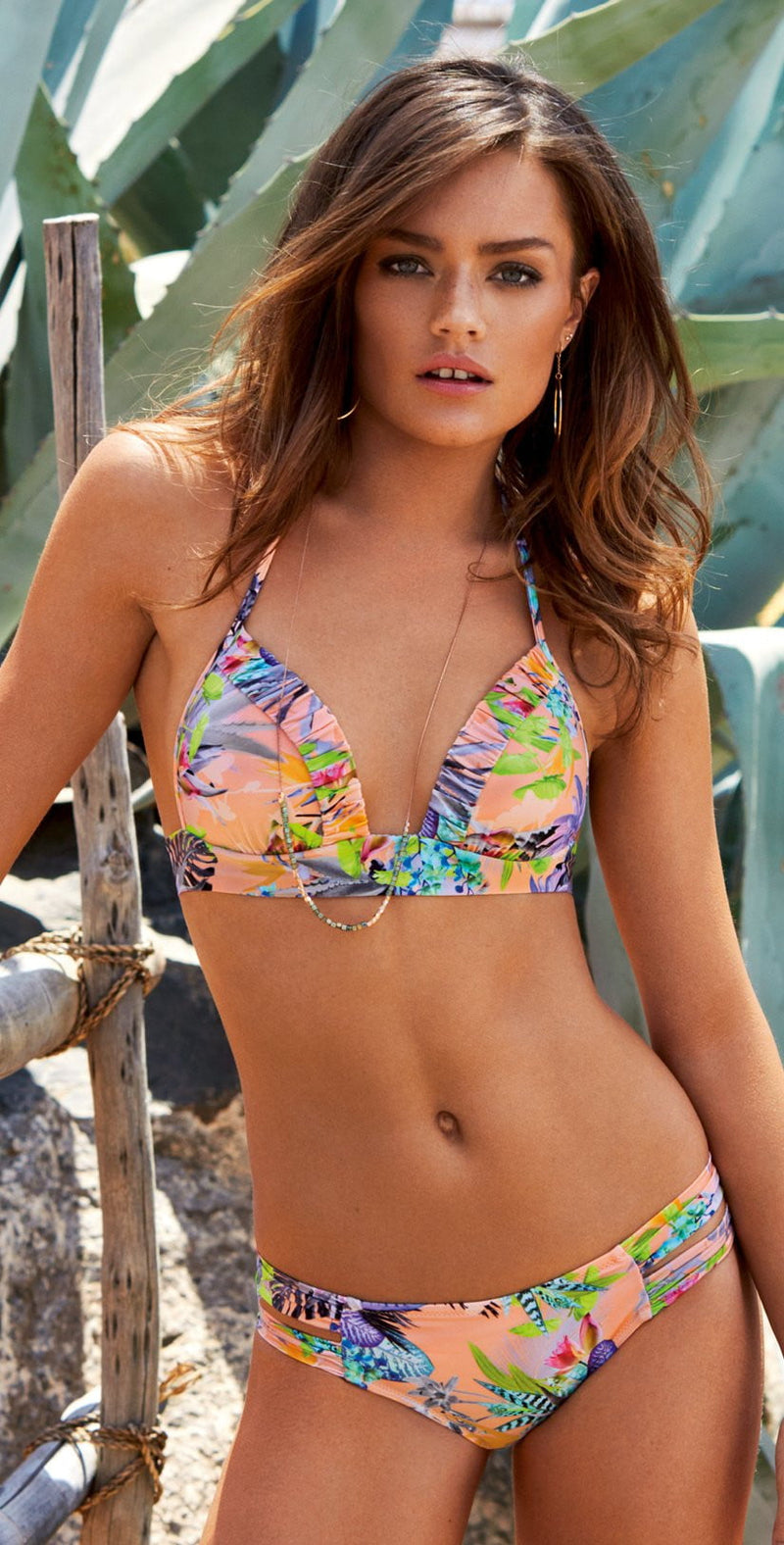 Watercult Exotic Jungle Bikini Top in Apricot 7663-165-673: