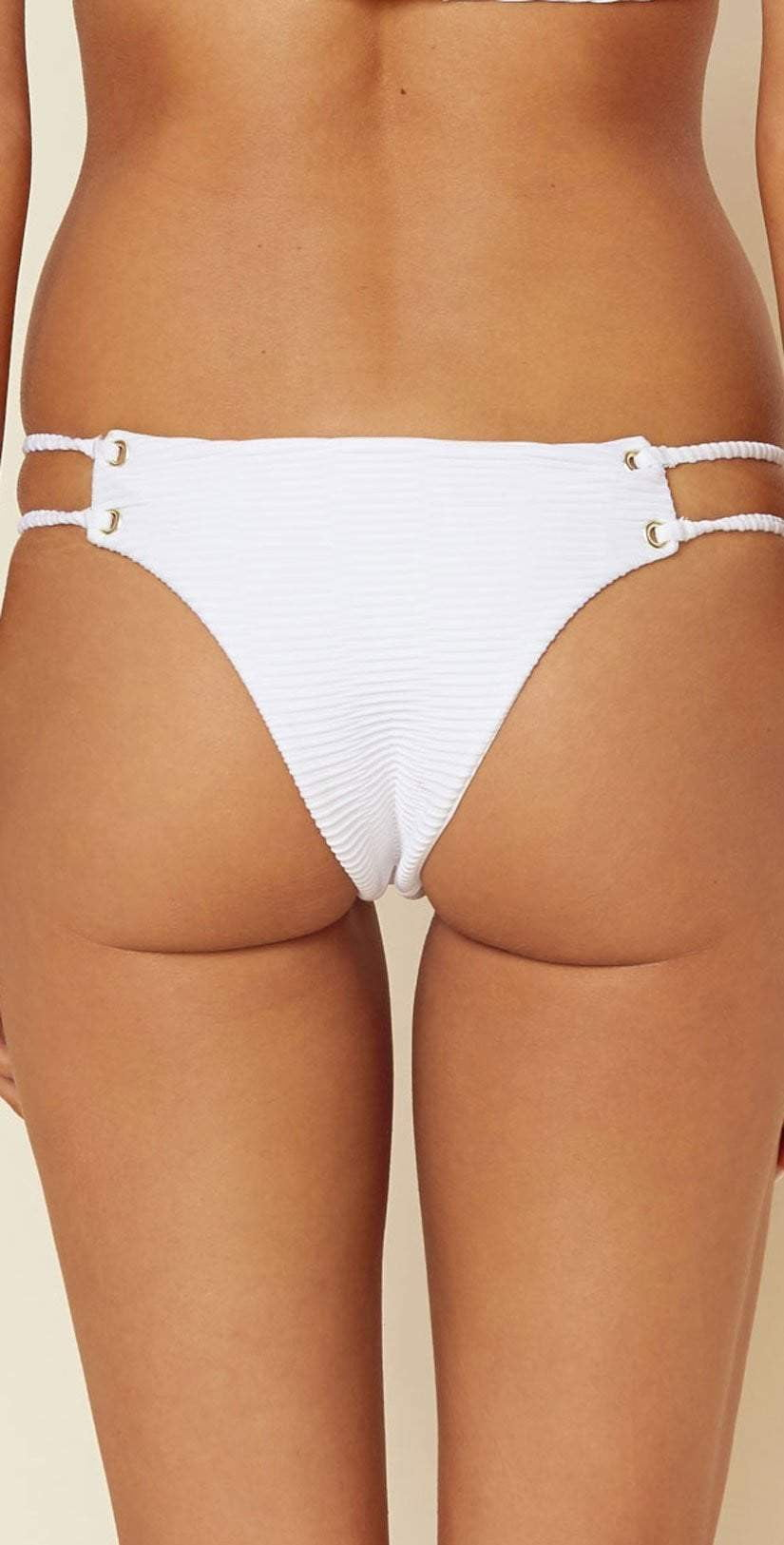 Blue Life Roped Up Skimpy Jacquard Bottom In White 390-9354-WHT: