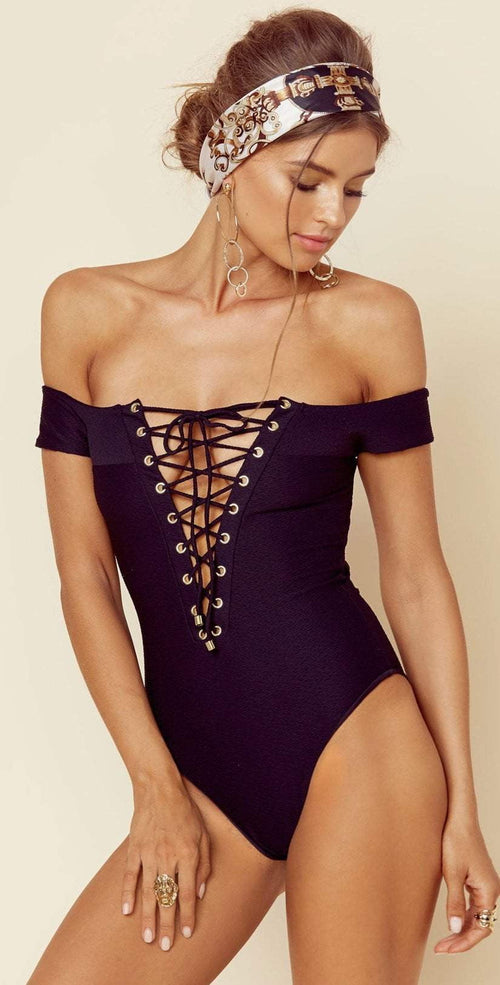 Blue Life Off The Shoulder One Piece in Black 388-9466 BLK: