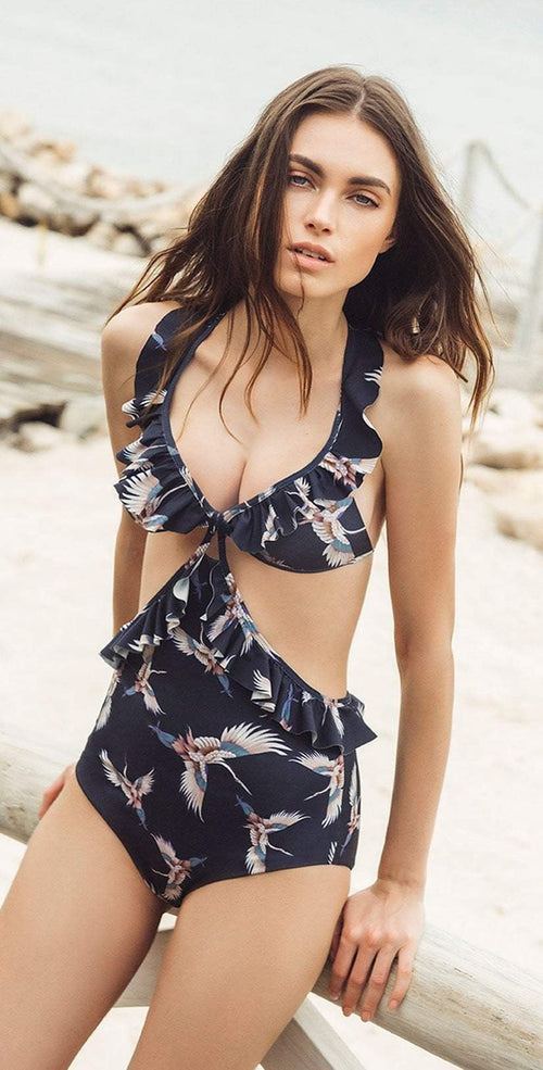 Boamar Dominic One Piece in Navy Blue Floral FPC007-BLFL front Lifestyle