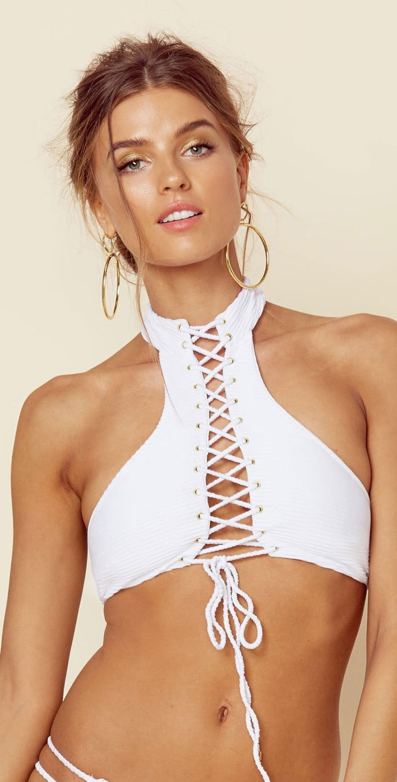 Blue Life Vixen Halter Top in White Jacquard 390-2516-WHT: