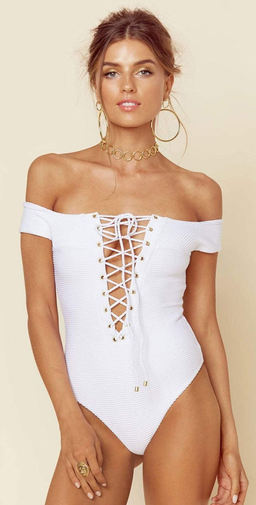 Blue Life Off Shoulder One Piece In White Jacquard 390-9466-WHT: