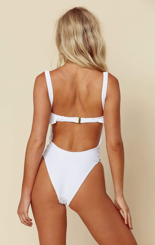 Blue Life Roped Up Corset One Piece In White 390-9572 WHT: