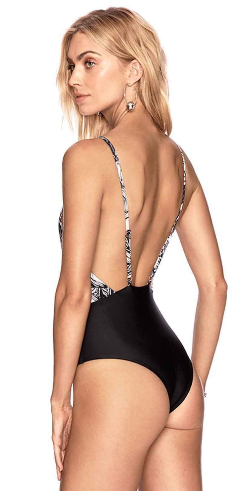 Beach Riot Leah One Piece Black And White One Piece back view