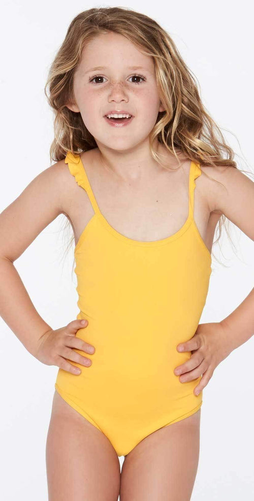 L Space Girl's L* Katie One Piece in Sunshine Gold BLKAM18-SUG front studio